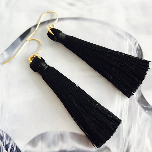 Olive Thread Tassel Earrings