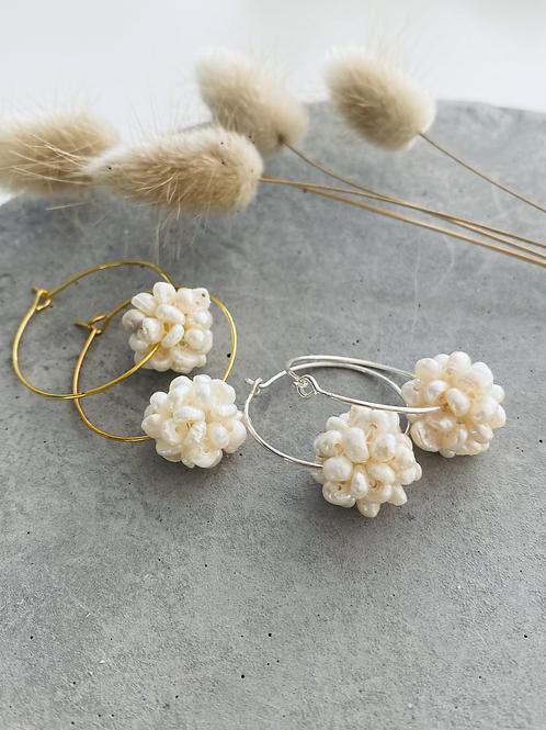 Fresh water pearl cluster hoop earrings - sterling Silver