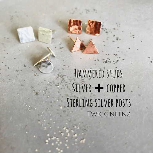 10 x Little BRASS STUDS  Mix sterling silver posts