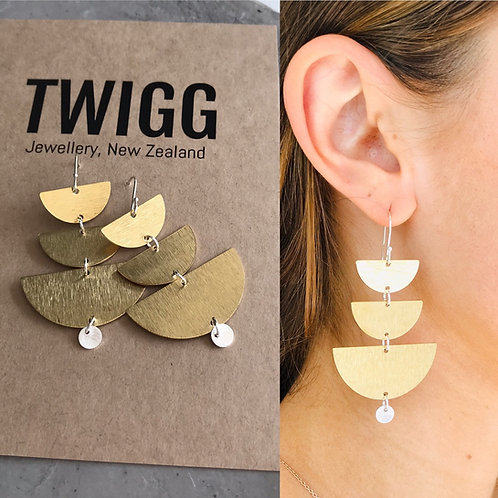 Crescent layered earrings