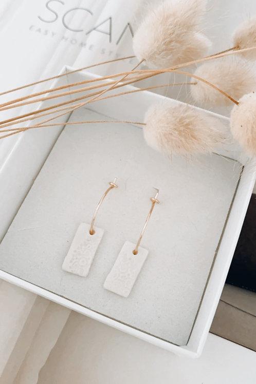 Filigree rectangle porcelain earrings