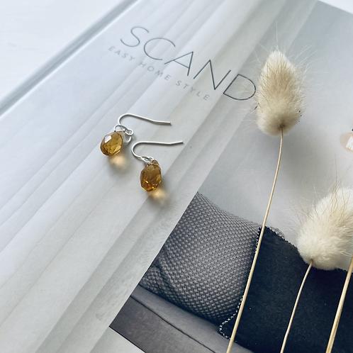 Austrian Crystal Droplet Earrings -Amber