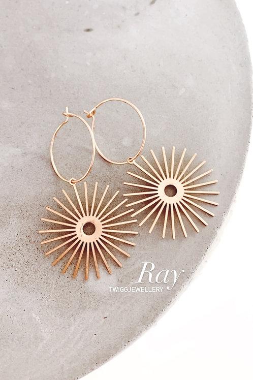 RAY satin brass earrings