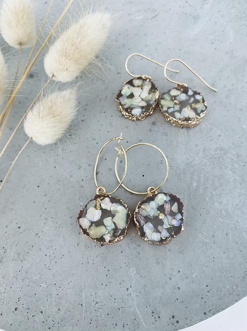 Eve resin gold rimmer earrings - blue/green