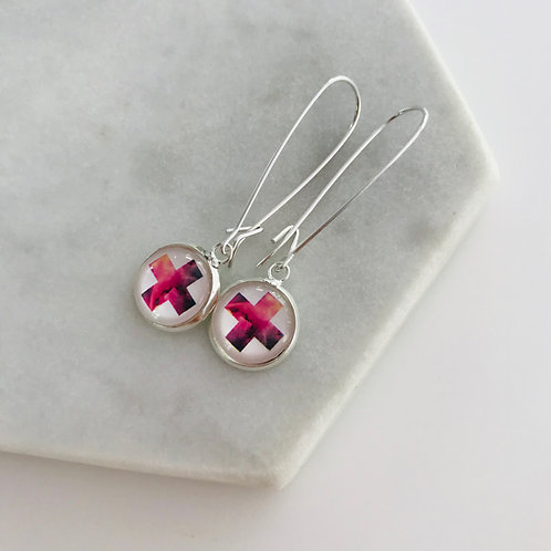 Pink cross sterling silver glass dome earrings