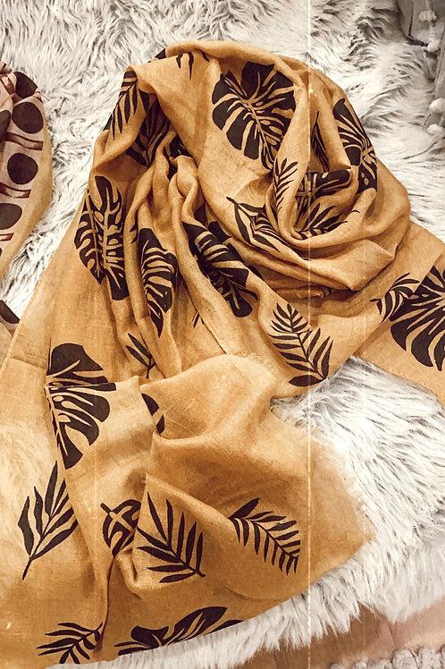 Mustard monstera scarf