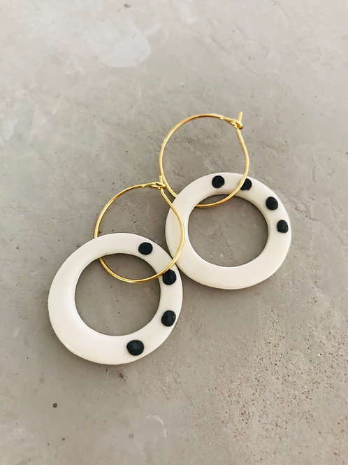 Porcelain organic dot earrings