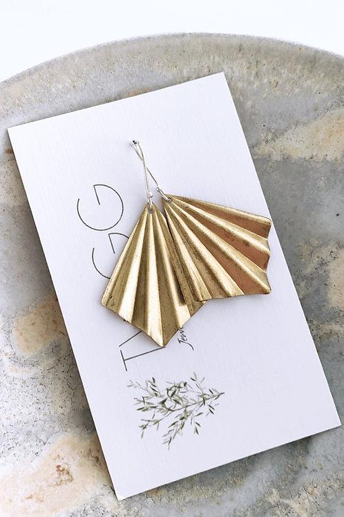 Pleat Satin brass earrings