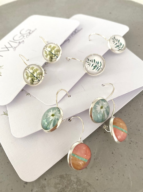 Sterling silver lever back glass dome  earrings x6