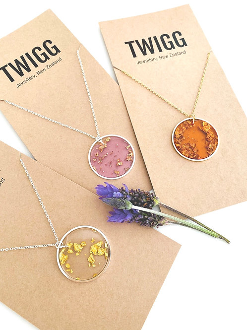 gold fleck resin necklaces