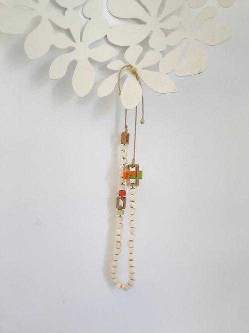 Wood bead necklace Orange+ Lime
