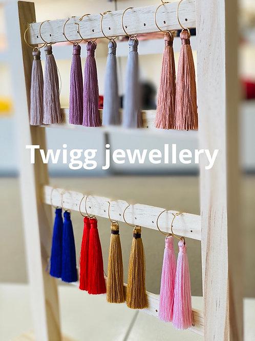 Silk Hoop tassel earring