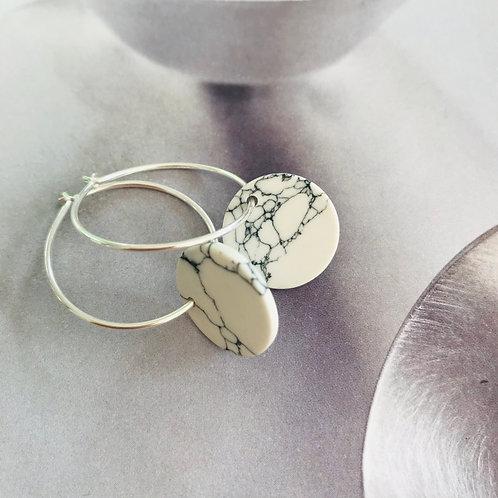 Marble disc earrings
