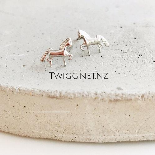 Sterling Silver Pony Stud Earrings