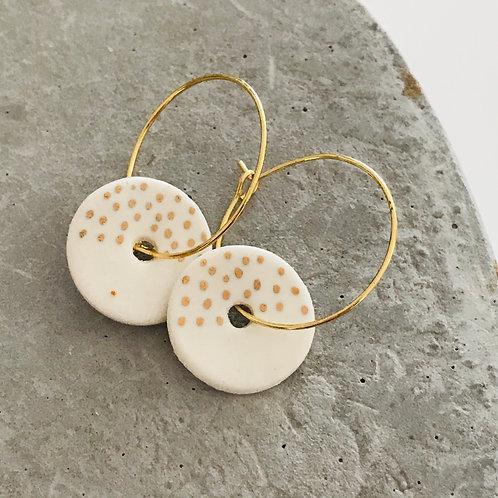 Dotty disc hoop Porcelain Earrings