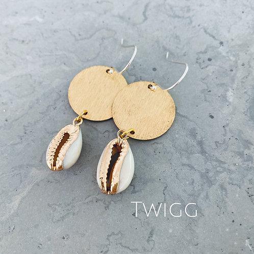 Double drop shell earrings