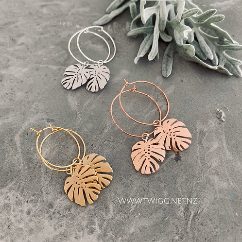 Monstera leaf creole earrings