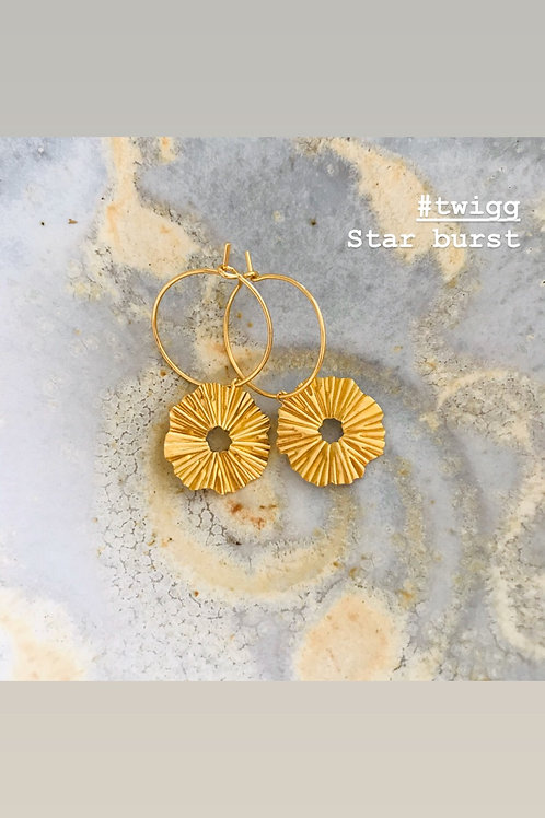 Star burst brass earrings