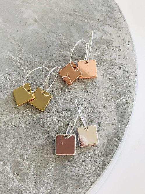 Square pegs hoop earrings
