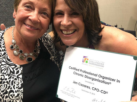 It's official! Jen has earned her CPO-CD® (Certified Prof. Organizer in Chronic Disorganization®)!