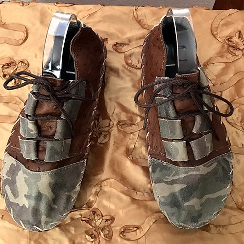 Brown and camouphlage lace up shoes
