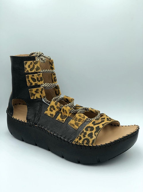 Open toe black and leopard open toe gladiator boot