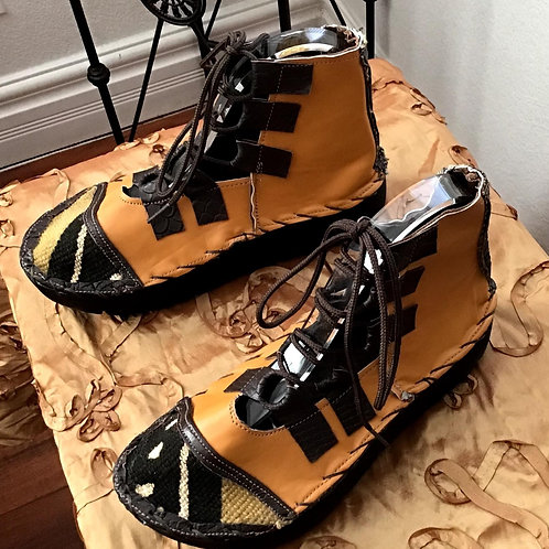 Mudcloth and yellow lace up boots