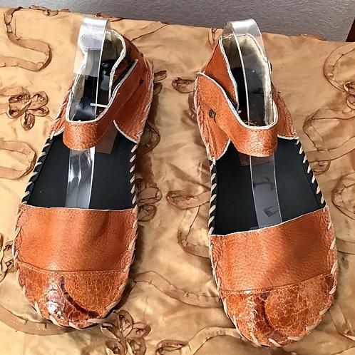 Burnt orange flat sandals