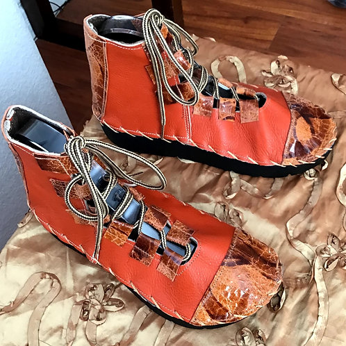 Burnt orange lace up boot