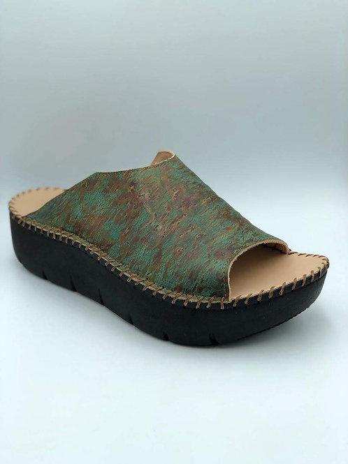 Open toe  multi green slide