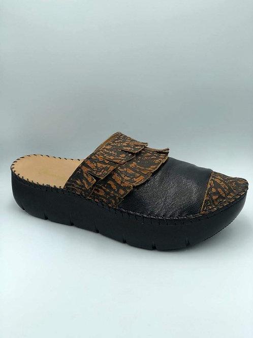 Black fringed croc slides