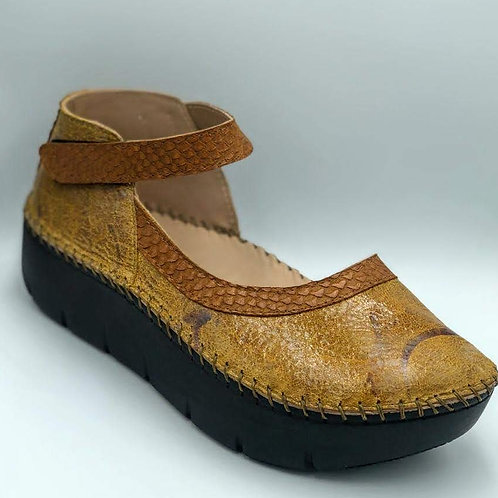 Exotic taupe half moon shoe