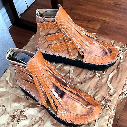 Beige and matt orange fringe Wokanda bootie