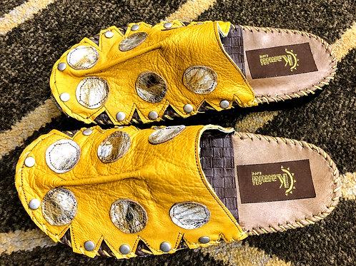 Mustard yellow polk-a-dot croc slide