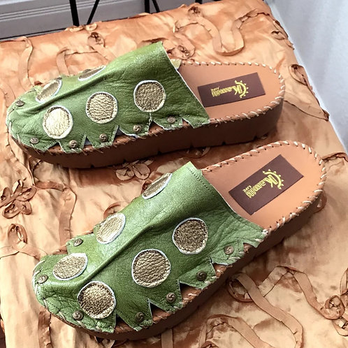 Chartreuse green and gold spotted croc slides