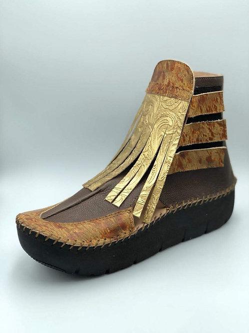 Gold Fringed Wokanda Bootie