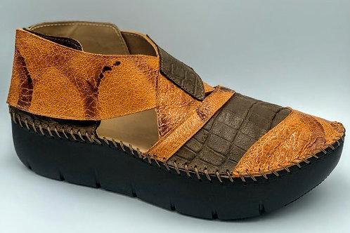Brown and burnt orange sandals