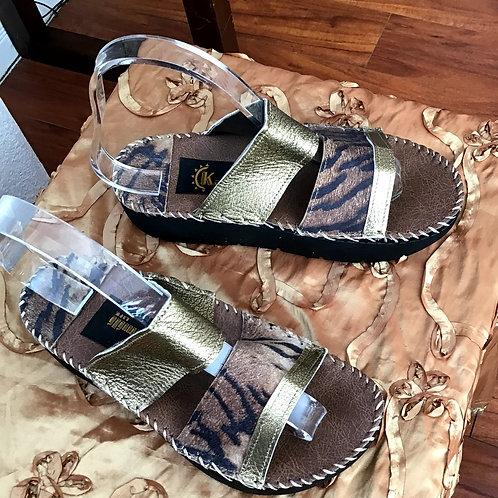 Leopard open toe slide