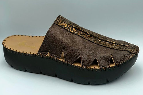 Chocolate brown bronze embossed croc slide