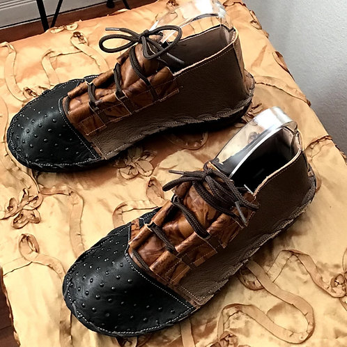 Black/brown oxford tennis shoes flat