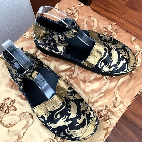 African print black and gold sandal