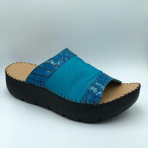 Warm turquoise open toe slides
