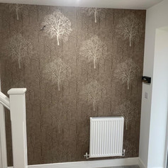 House entry hallway new wallpaper hung by Phoenix Decorators Worcester 2021