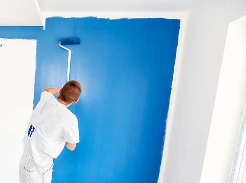 Domestic painting blue feature wall 2021 Phoenix Decorators Worcester.png