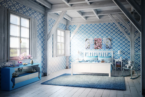 Patterned wallpaper hung by by Phoenix Decorators Worcester 2021