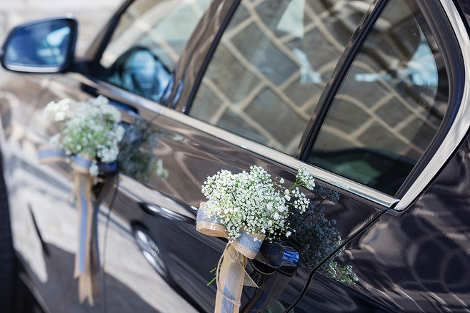Wedding car decorated with flowers Middlesbrough 2021 ACS Chauffeuring