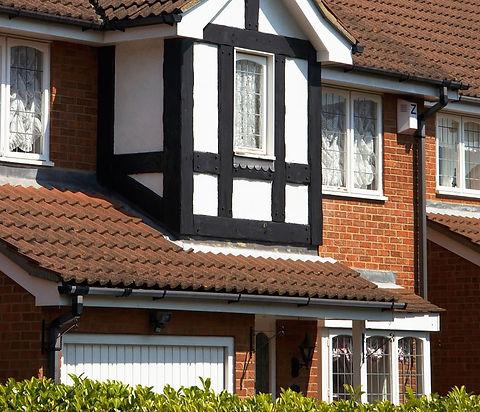 Tudor style house freshly painted exterior beams by Phoenix Decorators Worcester 2021