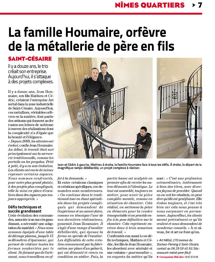midi libre parle d'Art Métal Père & fils à Nîmes