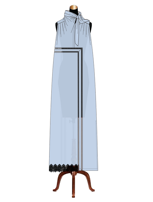 """""""Marie"""" sleeveless gathered pussy-bow-tie cotton lawn maxi-dress"""