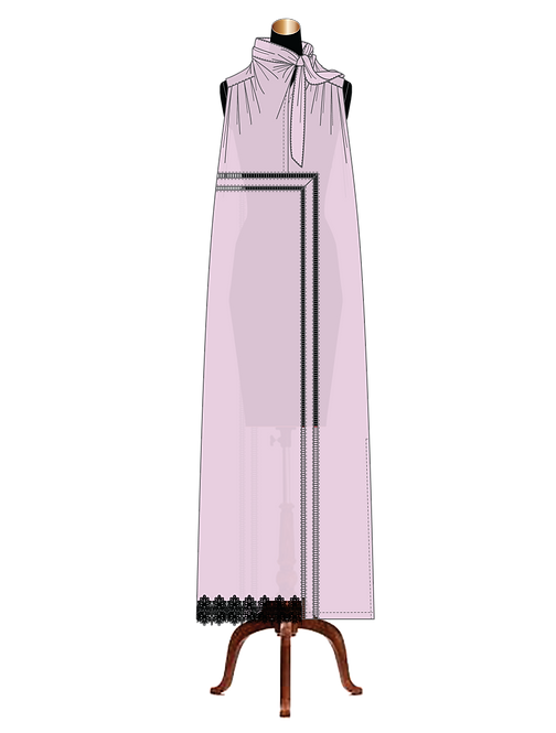 """Marie"" sleeveless gathered pussy-bow-tie cotton lawn maxi-dress"